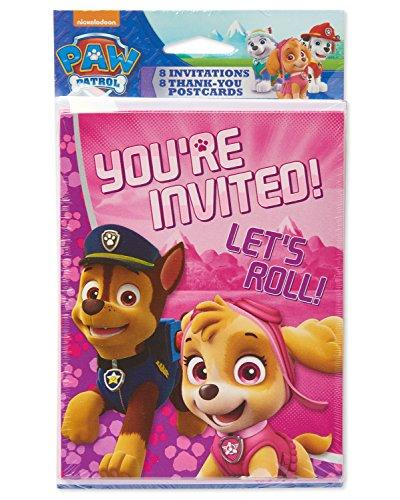 Nickelodeon American Greetings PAW Patrol Pink Invite and Thank You Combo Pack