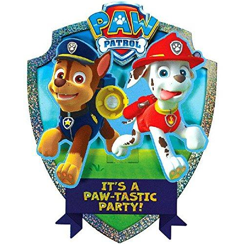 "Amscan Paw Patrol Chase and Marshalls Paw-Tastic Deluxe Jumbo Postcard Party Invitation, Paper , 8"" x 6"", Pack of 8"