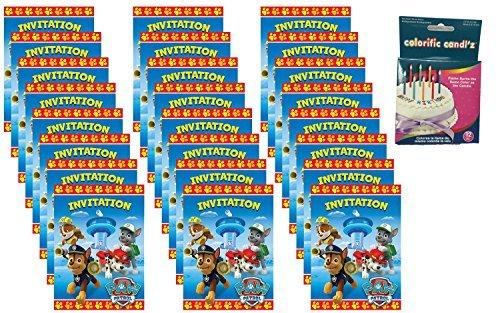 Paw Patrol Party Invitations (24 Pack) Bonus: Birthday Candles
