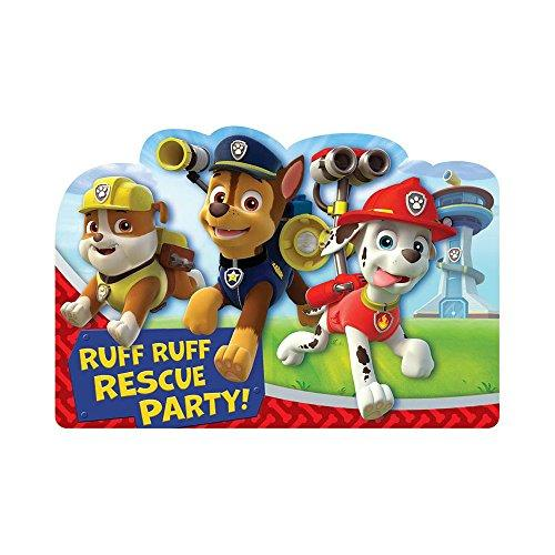 "Amazing Paw Patrol Birthday Party Postcard Invitation Cards Supply (8 Pack), Blue/Red, 6 1/4"" x 4 1/4"""