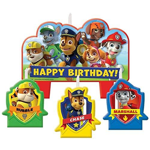 Amscan Paw Patrol Candle Set, 4 Pieces, Made from Wax, for Birthday