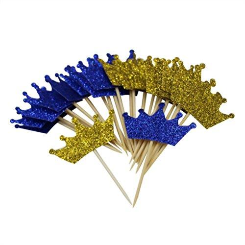 Mybbshower Gold Royal Blue Glitter Crown Cupcake Toppers for First Birthday Party Prince Baby Shower Decorations Pack of 24