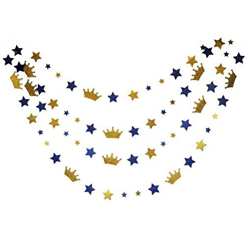 Mybbshower Royal Blue Stars and Gold Glitter Crown Paper Banner for Boy Birthday Party Decoration Pack of 20 Feet