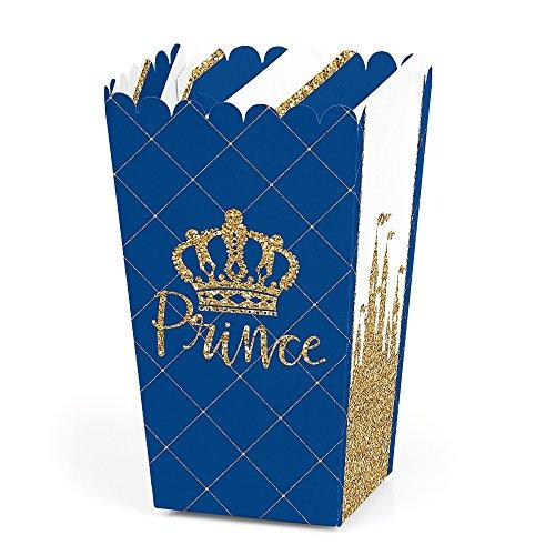 Big Dot of Happiness Royal Prince Charming - Baby Shower or Birthday Party Favor Popcorn Treat Boxes - Set of 12