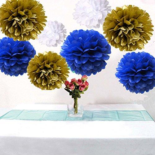 Set of 9 Mixed Gold Royal Blue White Tissue Paper Pompoms Flower Ball Wedding Engagement Prince Baby Shower Garland Party Decoration