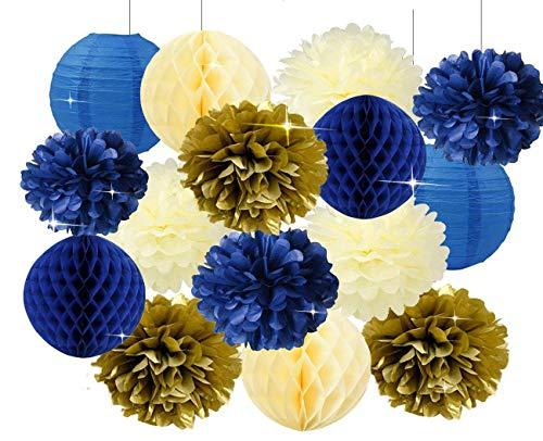 Furuix Royal Prince Baby Shower Decorations Navy Cream Gold Bridal Shower Decorations Tissue Pom Pom Flower Navy Honeycomb Balls for 1st Birthday Boy Prince Party Supplies Birthday Party Decorations
