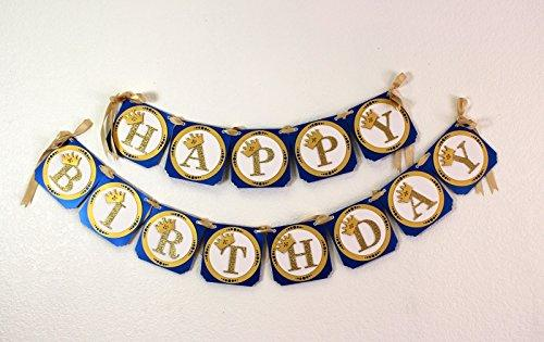 All About Details Royal Blue & Gold Prince Theme Happy Birthday Banner
