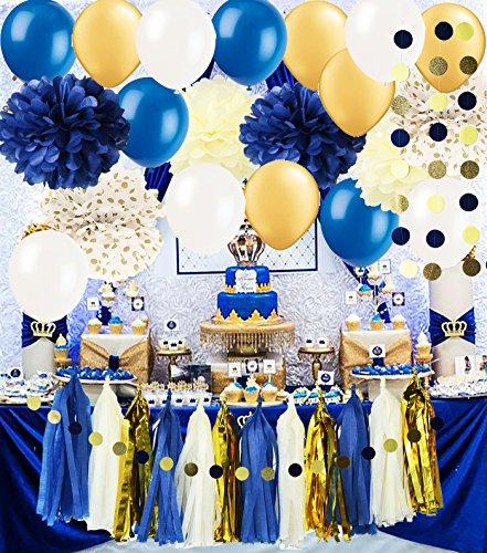 Royal Pince Baby Shower Decorations/ Navy Gold Bridal Shower Decorations Tissue Pom Pom Latex Ballons Tassel Garland Polka Dot Tissue Poms for Boy First Birthday/Navy Gold Wedding Decorations