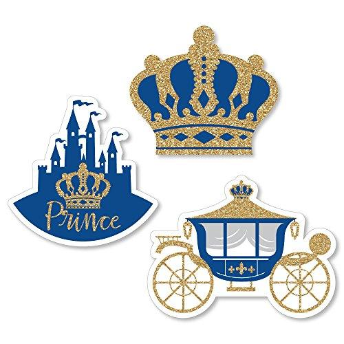Big Dot of Happiness Royal Prince Charming - DIY Shaped Baby Shower or Birthday Party Cut-Outs - 24 Count
