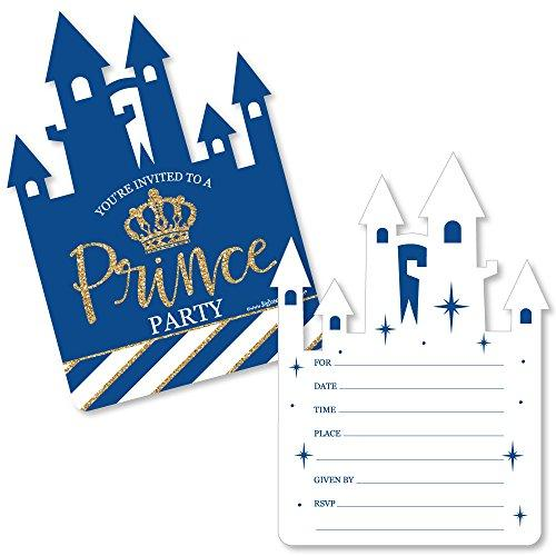 Big Dot of Happiness Royal Prince Charming - Shaped Fill-In Invitations - Baby Shower or Birthday Party Invitation Cards with Envelopes - Set of 12
