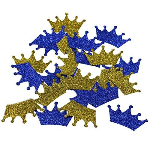 Mybbshower Royal Blue and Gold Glitter Crown Confetti Birthday Decor 1 4/5 Inch Pack of 200
