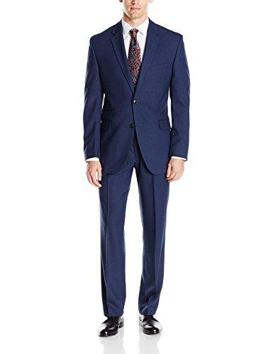 Perry Ellis Mens Slim Fit Suit with Hemmed Pant, Blue, 40 Regular
