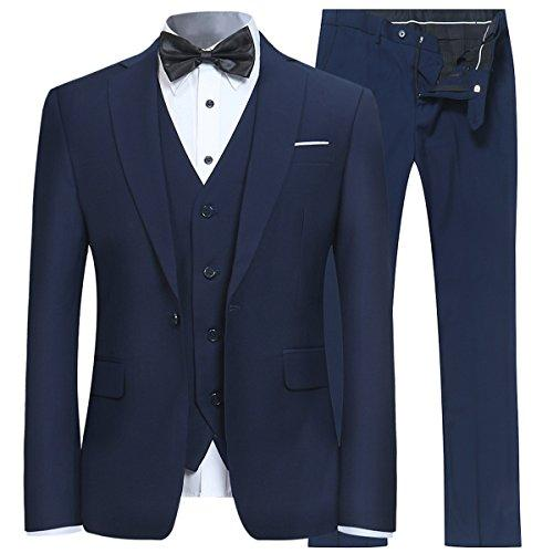 Mens Slim Fit 3 Piece Suit One Button Blazer Tux Vest & Trousers, Navy, Medium