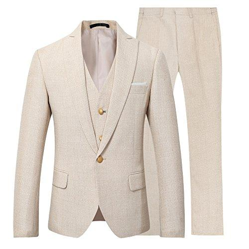 Mens 3 Piece Linen Suit Set Blazer Jacket Tux Vest Suit Pants (XL, Suit Set-Beige)