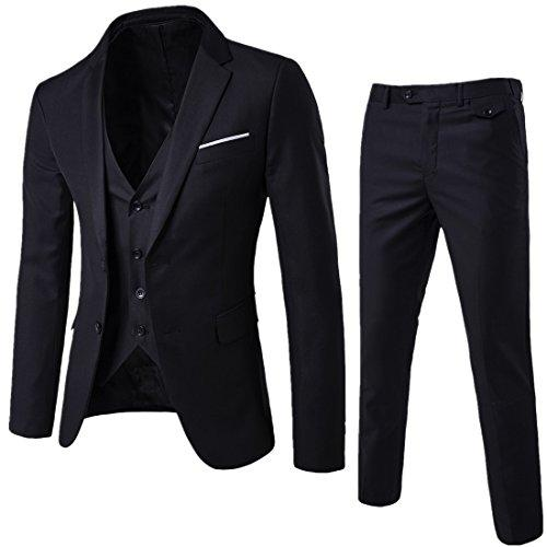 WEEN CHARM Mens Two Button Notch Lapel Slim Fit 3-piece Suit Blazer Jacket Tux Vest & Trousers Set