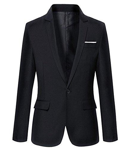 Benibos Mens Slim Fit Casual One Button Blazer Jacket (M, 302Black)