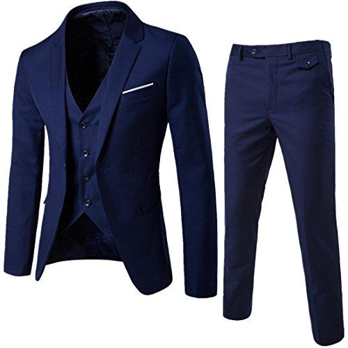 MAGE MALE Mens 3 Pieces Suit Elegant Solid One Button Slim Fit Single Breasted Party Blazer Vest Pants Set Blue Small