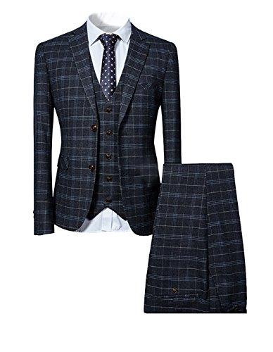 Cloudstyle Mens 3 Piece Slim Fit Checked Suit Blue/Black Single Breasted Vintage Suits (X-Large, Black)