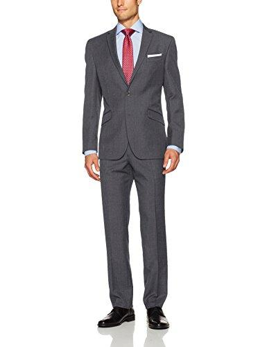 Kenneth Cole Unlisted Mens 2 Button Slim Fit Suit with Hemmed Pant, Grey, 44 Regular