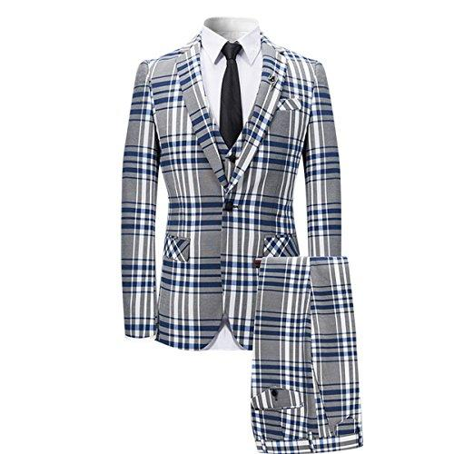 YFFUSHI Mens 3 Piece Plaid Suit Slim Fit Christmas Party Dress,Blue,Medium