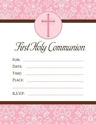 Amscan First Communion Invitation Pink