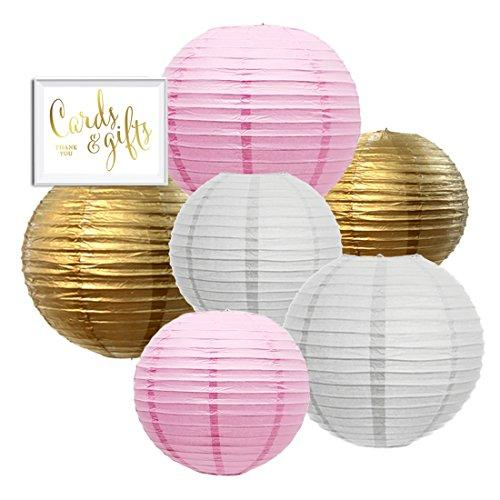 Andaz Press Hanging Paper Lantern Party Decor Trio Kit with Gold Party Sign, Gold, Pink, White, 6-Pack, For Girl 1st Birthday Baby Shower Baptism Communion Christening Decorations