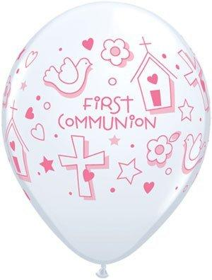 "Single Source Party Supplies - 11"" First Communion Girl Latex Balloons Bag of 10"