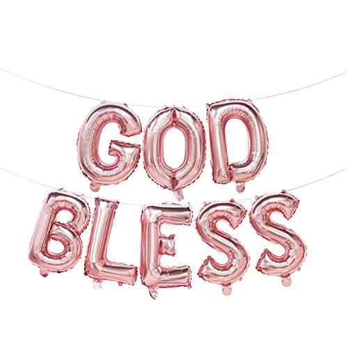 God Bless Foil Letter Balloons Rose Gold | God Bless Balloon Banner | Baptism Party Decorations | Rose Gold First Communion Decorations | Christening Party Supplies | 16inch