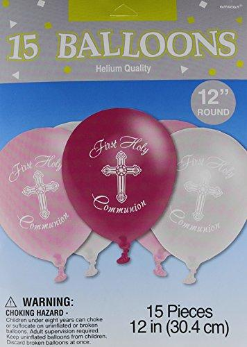 Girls - Pink and Silver First Holy Communion Latex Balloons - 15ct
