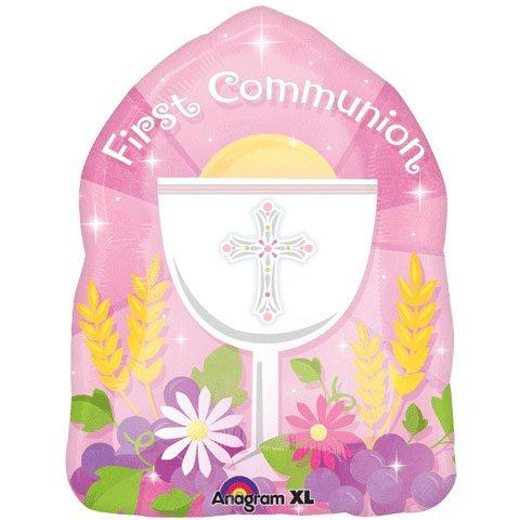 "Anagram International Blessed 1st Communion Pink Balloon, 18"", Multicolor"