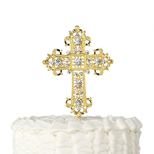 Ella Celebration Cross Cake Topper, Religious Wedding, Baptism, Christening, Dedication, First Communion, Christian Decoration (Gold)