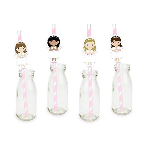 Dunnomart Girl First Communion Party Straw For Paper Straws Decoration Birthday Party Festive Supplies Paper Drinking Straws 24PCS