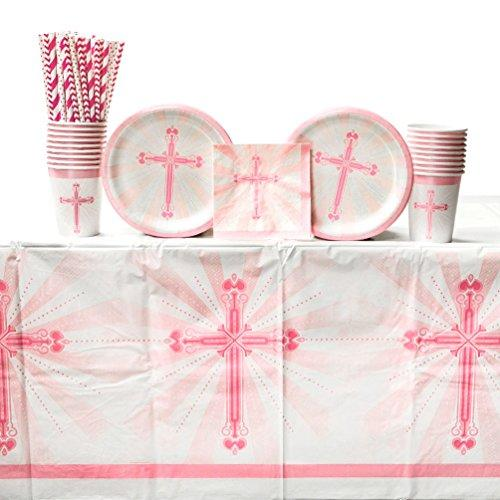 Blessings Pink Communion Party Supplies Pack for 18 Guests: Straws, Dessert Plates, Beverage Napkins, Table Cover, and Cups