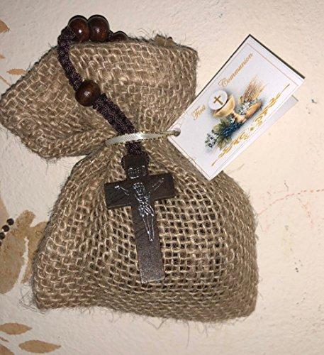 Natural First Communion Favor of Wooden Rosary in a Burlap Bag with Communion Italian Tag - Set of 10
