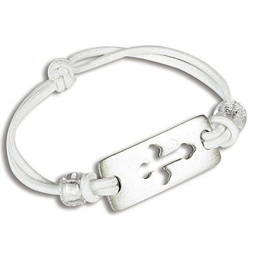 Abbey Gift First Communion White Stretch Bracelet with Cross
