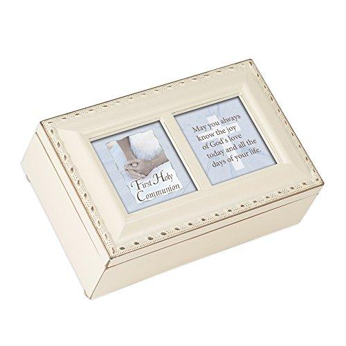 Cottage Garden First Communion Girl Petite Ivory Music Box Jesus Loves Me