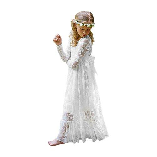 2017 New Lace Girl First Communion Dress A-Line Girl Gown White Size 8