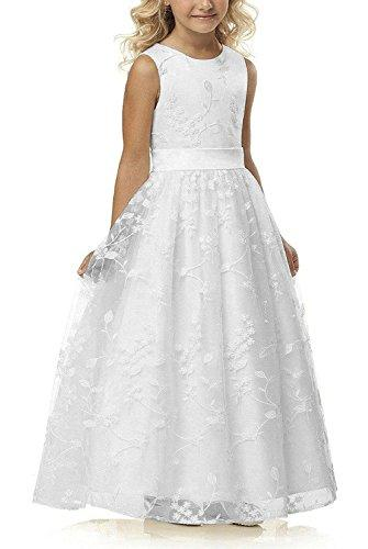 A line Wedding Pageant Lace Flower Girl Dress with Belt 2-12 Year Old (Size 8, White)