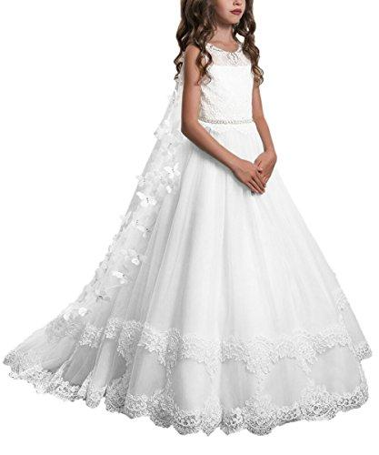 PLwedding Lace Flower Girls Dresses Girls First Communion Dress Princess Wedding Size 8 White