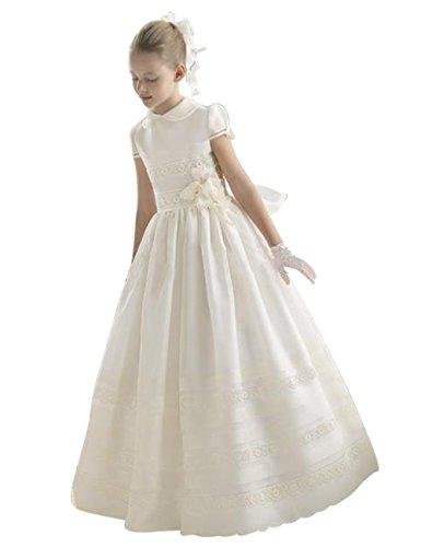 PinkMemory High-Neck First Communion Dress For Girls 2-14 White 7