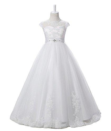 Nina Flower Girls Pageant First Communion Scoop Lace Dress White 8