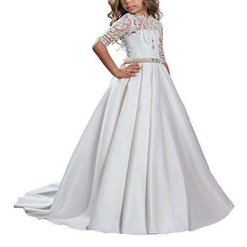 Carat Beautiful White Lace Princess Ball Gown Hollow Back Flower Girl Dress White Size 8
