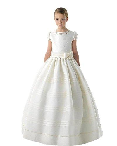 Graceprom Scoop Short Sleeves Bow First Communion Dresses