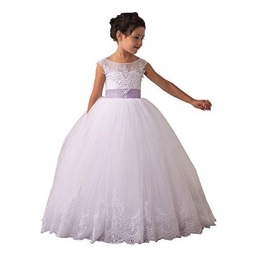 Carat Glitz Vintage Pageant Ball Gowns Open Back First Communion Dresses for Girls 2-12 Year Size 12,White with Purple Bow