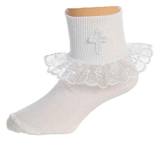 Girls White First Communion Baptism or Special Occasion Socks with Cross 9-11yr