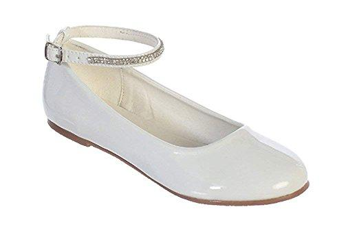 White Little Girls Patent Rhinestone Ankle Strap Flats Dress Shoes Size 2 Youth