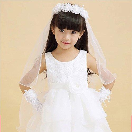Lavendel Bridal Flower Girl Veils Two Layers White Pink Wedding Communion Hair Wreath (White)