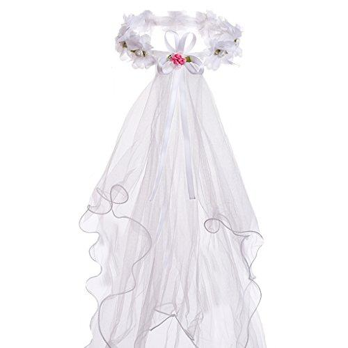 Flower Girls White Catholic Religious First Communion Veil Headband with Bow (One Size, White (Hair Wreath))