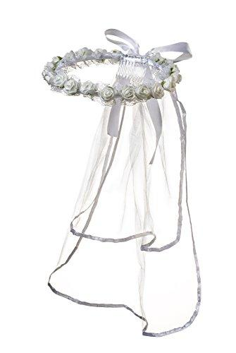 Girls First Communion White Rose Bud Veil Headpiece with Bow
