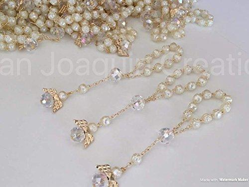 25 Pc Ivory Color Baptism Favors with Angels Mini Rosaries Gold Plated Acrylic Beads/ Recuerditos De Bautismo/ Christening Favors/ Decenarios/ Decades/ Finger Rosaries
